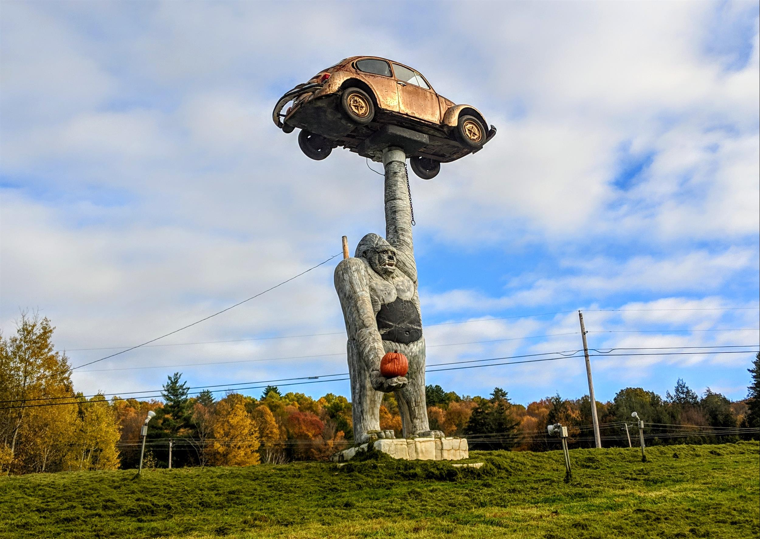 Gorilla Holding a VW Beetle (Statue)